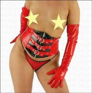 Dessous - Elegante rote Lack Handschuhe extralang