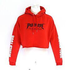 Justin Bieber Purpose World Tour Red Cropped Hoodie Sweatshirt H&M Divided Sz M