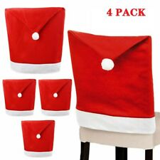 4PCS Christmas Santa Chair Cover Hat Xmas Party Dinner Seat Covers Home Decor