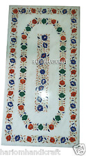 2.5'x5' Marble Side Dining Table Top Mosaic Floral Inlay Work Home Decor H2930A