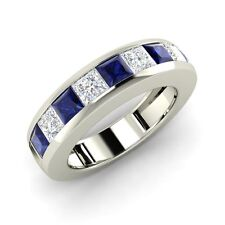 Certified 1.78 Ct Princess Cut Sapphires Solid 14k White Gold Wedding Band Ring