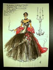 Lady In Black Ball Gown 1946-59 Original Watercolor By C. Schattauer Kelm