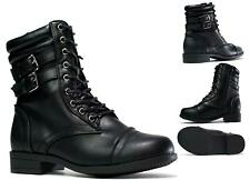 Ladies New Black Leather Lace Up Side Zip Up Chunky Platform Combat Ankle Boot