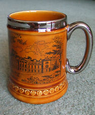 "Lord Nelson pottery ""Woburn Abbey"" souvenir tankard with silvered rim and handle"
