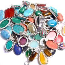 Charming Wholesale Lot Silver Overlay 20Pcs Pendant Mix Gemstone Jewelry