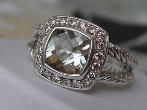 $650 DAVID YURMAN , SS ALBION SAGE PRASIOLITE DIAMOND ICE RING sz6