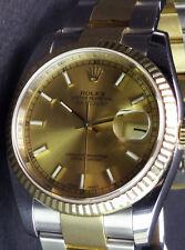 ROLEX - 36mm 18kt GOLD & SS DateJust Champagne Index - 116233 SANT BLANC