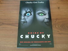 """ORIGINAL 1998 UNIVERSAL VIDEO STORE MOVIE POSTER - 17"""" BY 11"""" - BRIDE OF CHUCKY"""