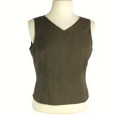 Kasper Womens 6P Petite Suiting Top Fitted Poly Rayon V Neck Sleeveless Brown