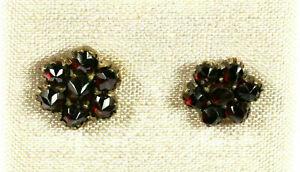 Traumhafte Antike Echte Böhmische Granatsteine Tombak + 925-iger Silber Ohrringe