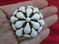 Vintage Gold Tone Metal Milk White Briolette Marquise Glass Flower Brooch Pin