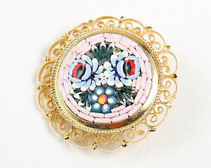 'ITALY' Vintage 1930s Micro Mosaic Brooch in Filigree with Vibrant Floral Motif