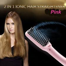 PINK Magic Pro Electric Ionic Automatic Hair Straightener Styler Brush UK / EU