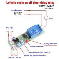 DC 12V unendliche Zyklusverzögerung Timing Timer Relaismodul ON OFF Switch Loop