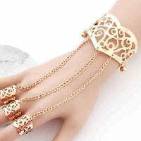 Fashion Hollow Bracelet Bangle Chain Link Finger Ring Hand Harness