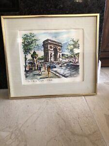 Vintage Lithograph Print Signed Arno Paris Arc De Triomphe Etoile In Prof Frame