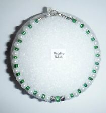 Handmade in USA HelaPro Anklet Ankle Bracelet Green and White Size 9.75 inc.