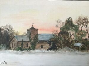 Antique Miniature painting of a Country Cottage, Watercolour, Signed, 5 x 3.5in