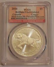 2016 Canada Cougar 1 oz .9999 Fine Silver $5 Dollar - PCGS BU - FREE SHIPPING