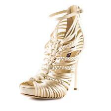 RALPH LAUREN Womens Creme Satin Woven Strappy Peep-Toe High Heel Pump Sandal 8