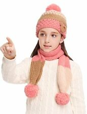 New Girls knit Cold Weather Hat Scarf SetPink Free Shipping