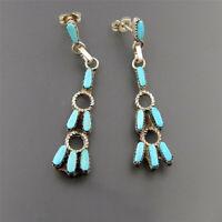 925 Silver Turquoise Gemstone Earrings Ear Studs Dangle Drop Women Jewelry Party