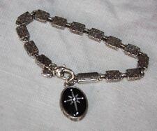 "Brighton  Black Enamel Swarovski Crystal Silver Plated Bracelet  7.25"""