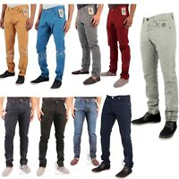 Men's Enzo Designer Slim Fit Chinos Coloured Skinny Trousers Straight Jeans Pant