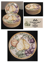 "VINTAGE American Atelier Salad Sandwich Plates 8.25""  POMPEN FRUIT Set of 7"