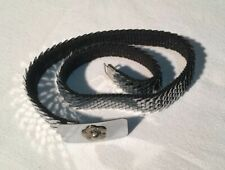 Vtg Silver Mesh Belt 24� Elastic Flower Buckle Barrie Chase Collection