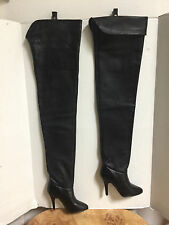 """NEW-VINTAGE WILD PAIR BLACK THIGH HIGH LEATHER FETISH BOOTS 4"""" HEELS-SIZE 5.5 B"""