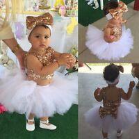 Infant Newborn Baby Girls Sequins Tops+Tutu Skirt Headband 3pcs Outfit Set Dress