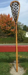 """FABULOUS Vintage ETIENNE DELUXE SPECIAL Wooden LACROSSE STICK Lax 46"""" + SIGNED"""