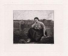 "Enchanting 1800s JULES BRETON SIGNED Etching ""Harvest Field Worker"" Framed COA"