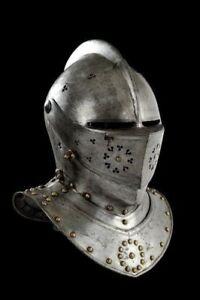 X-Mas 18Ga Sca Larp Medieval Knight Tournament Close Armor Helmet Replica Dm