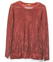 Gianni Bini Women's Medium Long Sleeve Crew Neck Open Knit Acrylic Sweater Red