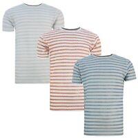 Men's Soul Star Crew Neck Short Sleeve 100% Cotton Contrast Striped T-Shirt