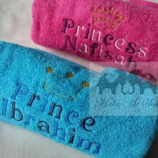 PERSONALISED NAME CHILDREN'S TOWEL PRINCE PRINCESS CROWN with NAME GIFT