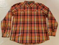 The North Face Mens Button Up Long Sleeve Shirt L Plaid Pink Yellow Orange Blue