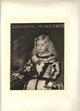 Stampa antica VELASQUEZ INFANTA MARGHERITA di SPAGNA 1890 Old antique print
