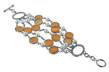 Stainless Steel Multi-Strand, Multi-Color Glass Bracelet