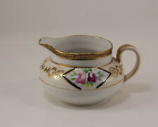 Nippon Hand-painted Creamer Pink Roses Gold Accents Mark Green M in Wreath