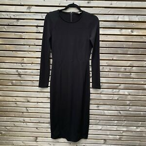 Whistles Black Jersey Longline Midi Pencil Dress Size UK 12