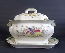 CHARMING SMALL SOUP TUREEN WITH UNDERPLATE COLORFUL FRUIT ON CREAM BACKGROUND