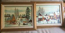 "A pair of 12""x16"" framed folk - primitive winter scenes by J. Kanbe"