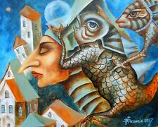 Original painting Oil on canvas CONTEMPORARY ART surrealism, strangers, old town