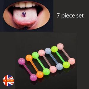 7Pcs Body Piercing Jewellery Luminous Glow Acrylic Plastic Barbell Tongue Bar