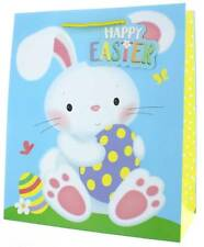 """Medium Happy Easter Gift Bag - White Bunny with Decorated Eggs 10""""x 8.5"""""""