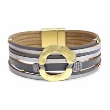 Women Multilayer Leather Magnet Wrap Cuff Bracelet Bangel Ladies Jewelry Gifts