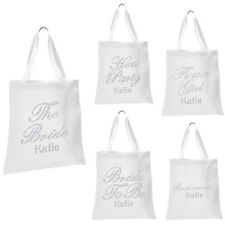 Personalised WHITE Bridal TOTE BAG Luxury Girl's Storage Shoe hen party gift bag